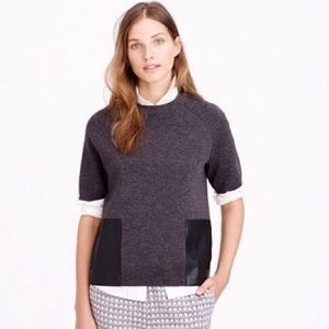 J Crew Gray Wool Sweater Leather Pockets